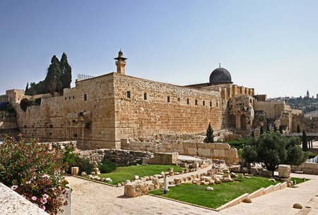 JERUSALEM, ISRAEL - MAY 05, 2018: View of the south wall of the Temple Mount and the Ophel Archaeological Park in the Old City of Jerusalem