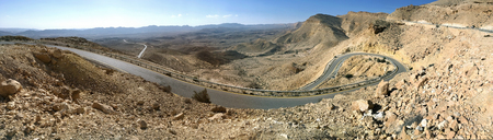 Winding road in the mountains of the Negev desert, Israel