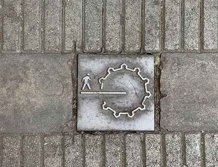 NICOSIA, CYPRUS - MAY 10, 2019: Pictogram on a tile into the pavement that indicates Ledra Street inside the historic part of Nicosia Editorial