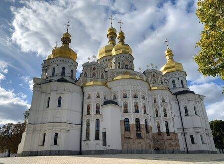 KIEV, UKRAINE - OCTOBER 01, 2019: Cathedral of the Assumption of the Blessed Virgin Mary - the main cathedral church of the Kiev Pechersk Lavra