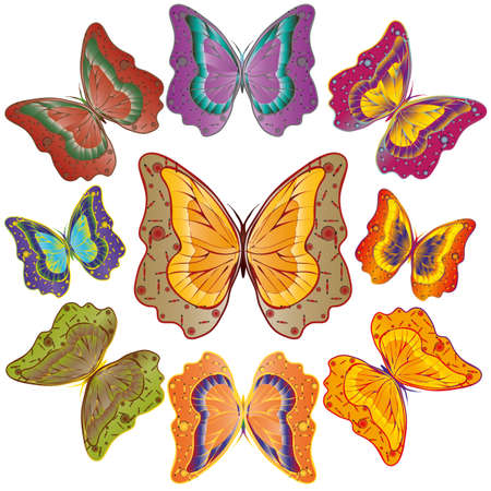 motley: Ten bright motley butterflies. Vector illustration. set Illustration