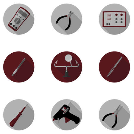 multimeter: icons of tools for repair of electronics