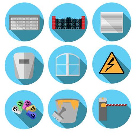 roller shutters: set of nine building icons blue Illustration
