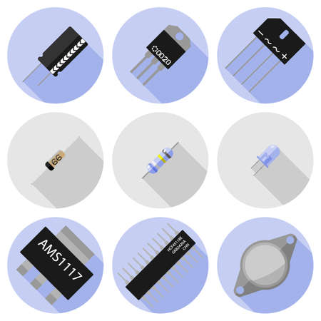 electronic components: set of icons of electronic components Illustration