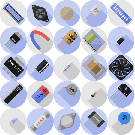 resonator: Vector set of icons of electronic components Illustration