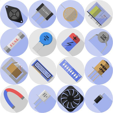 the resonator: set of icons of electronic components Illustration