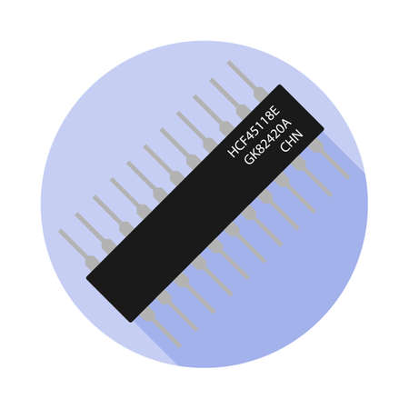 Vector image of a microcontroller on a round basis Illustration