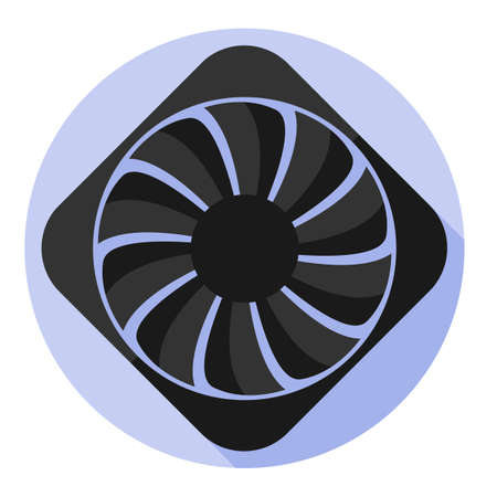 hard component: Vector image computer fan on a round background Illustration