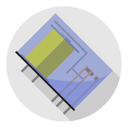 Vector afbeelding van het relais in een glazen tas op een ronde achtergrond