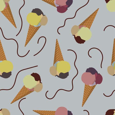 monophonic: Seamless vector image of ice cream on a monophonic background Illustration