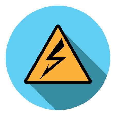 alerting: Vector image sign attention electricity on a round background