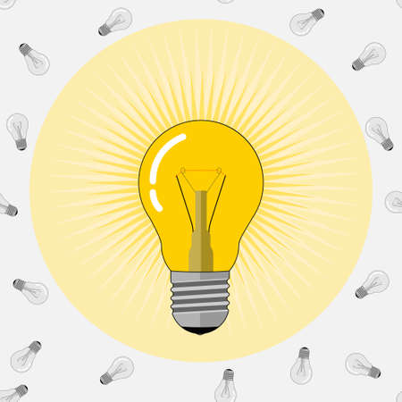 Glowing light bulb illustration on light background.