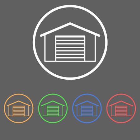 Icons of garage doors in a linear style of different colors