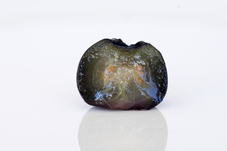 greenish blue: Close-up of ripe, vertically bisected blueberry (side view) Stock Photo