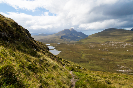 View of Cul Beag from hiking trail at Knockan Crag in North West Highlands Geopark, Scotland Stock Photo
