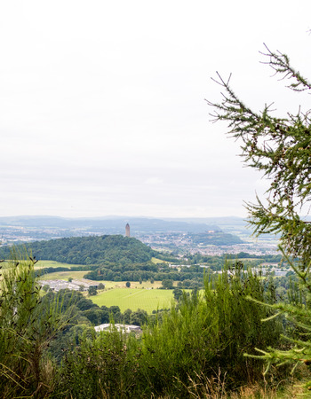 View of Wallace Monument from Ochil Hills near Blairlogie, Scotland II