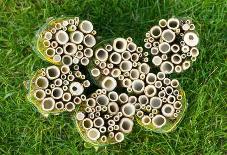 Do it yourself insect hotel made from hollow plant stalks - standing, from above 版權商用圖片