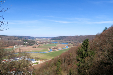 View of the towns of Beilngries and Pfraundorf and the valley of the Altmuehl river from the formerly fortified hilltop ? ? Torfelsen ? ??, Germany Stock Photo