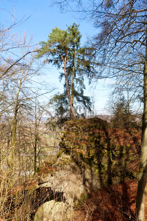 Formerly fortified hill top at Castle Torfelsen close to Beilngries, Germany Stock Photo - 119092502