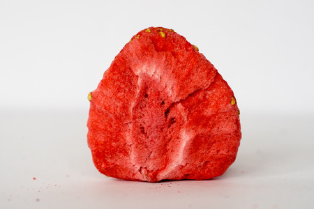 Closeup of freeze-dried strawberry slice