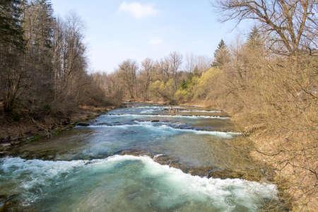Mangfallriver at the Mangfallknie in early spring, Germany, Bavaria