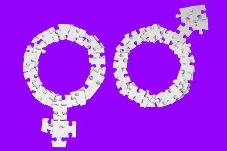 White Male and Female Signs made from puzzle pieces on violet background Standard-Bild