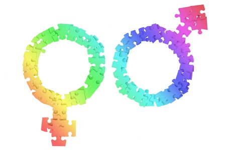 Rainbow Male and Female Signs made from puzzle pieces on white background