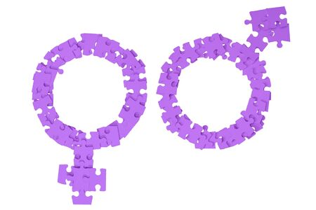Violet Male and Female Signs made from puzzle pieces on white background Standard-Bild