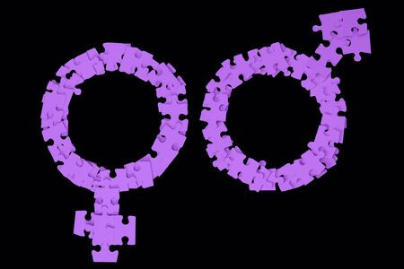 Violet Male and Female Signs made from puzzle pieces on black background