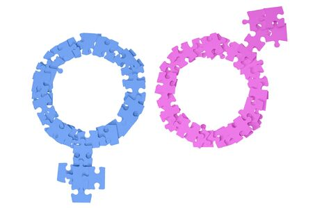 Pink Male and blue Female Signs made from puzzle pieces onwhite background Standard-Bild