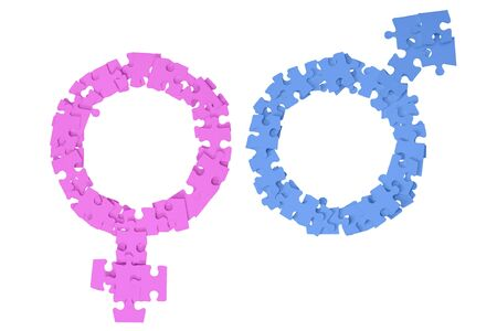 Blue Male and pink Female Signs made from puzzle pieces on white background