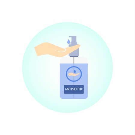 Hand wash gel icon on white background. Hand sanitizer sign and symbol