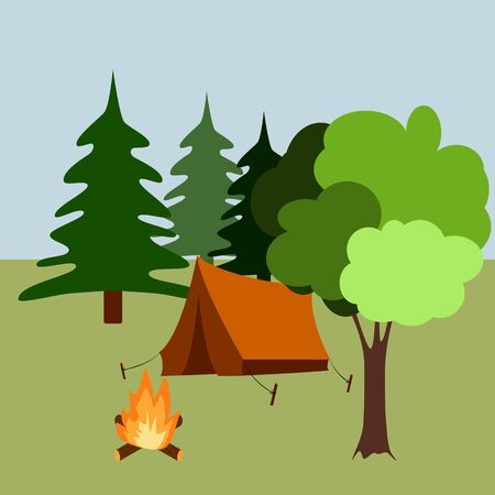 Hiking and outdoor recreation concept with flat camping travel icons vector illustration