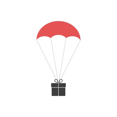 The gift box flying on red parachute. Used linear gradients.