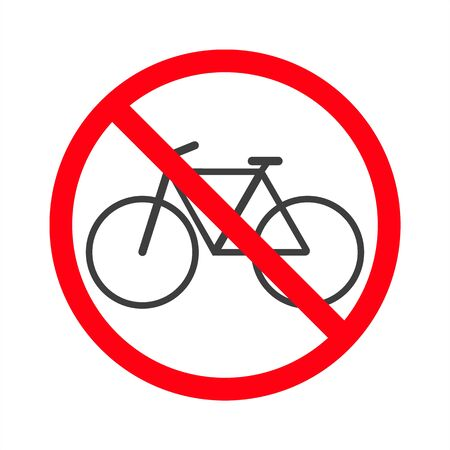 No bicycle sign vector on a white background