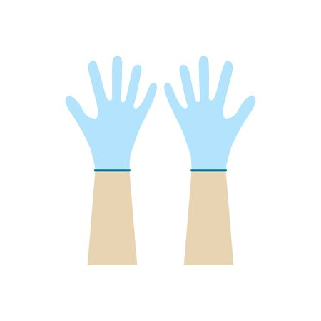 Hands putting on protective blue gloves. Latex gloves as a symbol of protection against viruses and bacteria. Precaution icon.