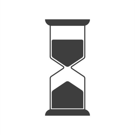 Hourglass vector icon on white background.