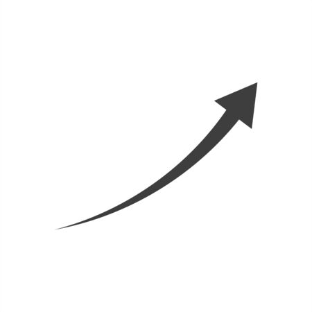 curved up arrow on a white background