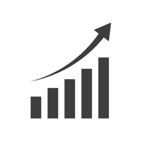 Paper clipped sticker: growing graph. Isolated illustration icon