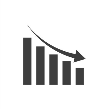Vector arrow graph down icon on white background