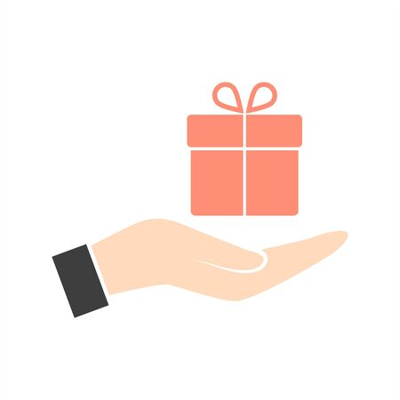 Hand and gift vector icon.