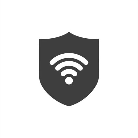 VPN - virtual private network icon. Simple shield with wifi symbol. Outline modern design element. 向量圖像