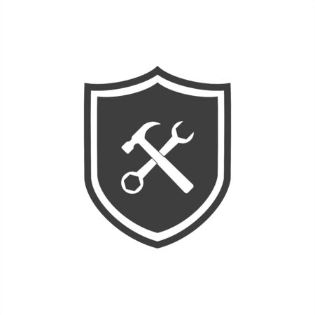 Service symbol icon - shield with screwdriver and wrench. Graphic elements for your design