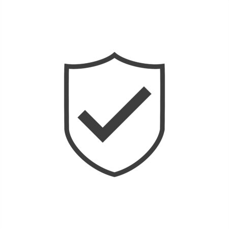 shield and checkmark icon on a white background