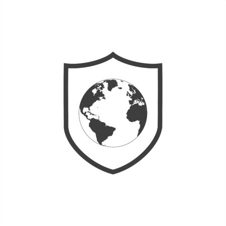 world planet earth with shield isolated icon vector illustration design