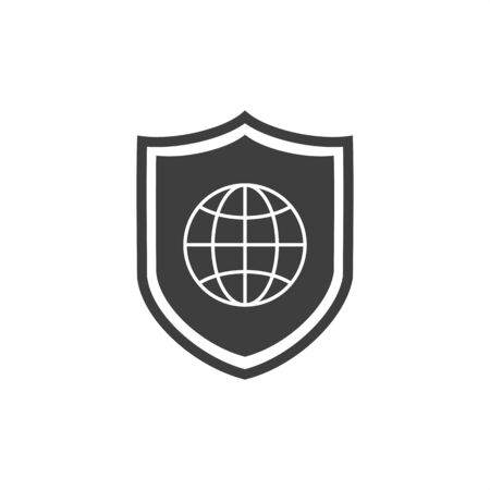 Global Protection Shield line icon. linear style sign for mobile concept and web design. Shield with globe outline vector icon. Security, safety, protection symbol