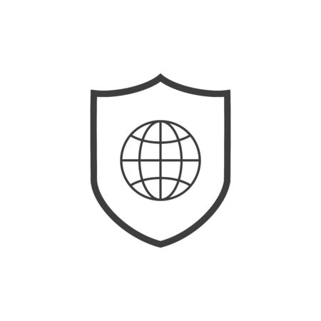 Global Protection Shield line icon. linear style sign for mobile concept and web design. Shield with globe outline vector icon.