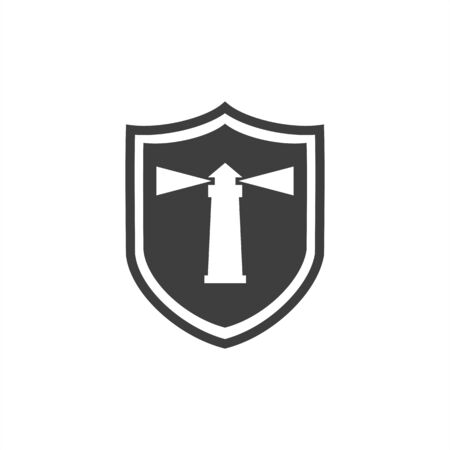 Abstract lighthouse icon  graphic in badge shape 向量圖像