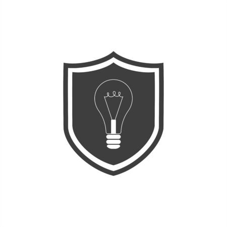 shield icon with a light bulb on a white background 向量圖像