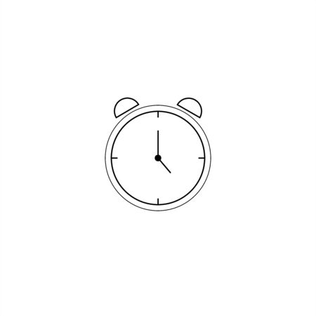 Alarm clock vector icon isolated on white background, simple line outline style